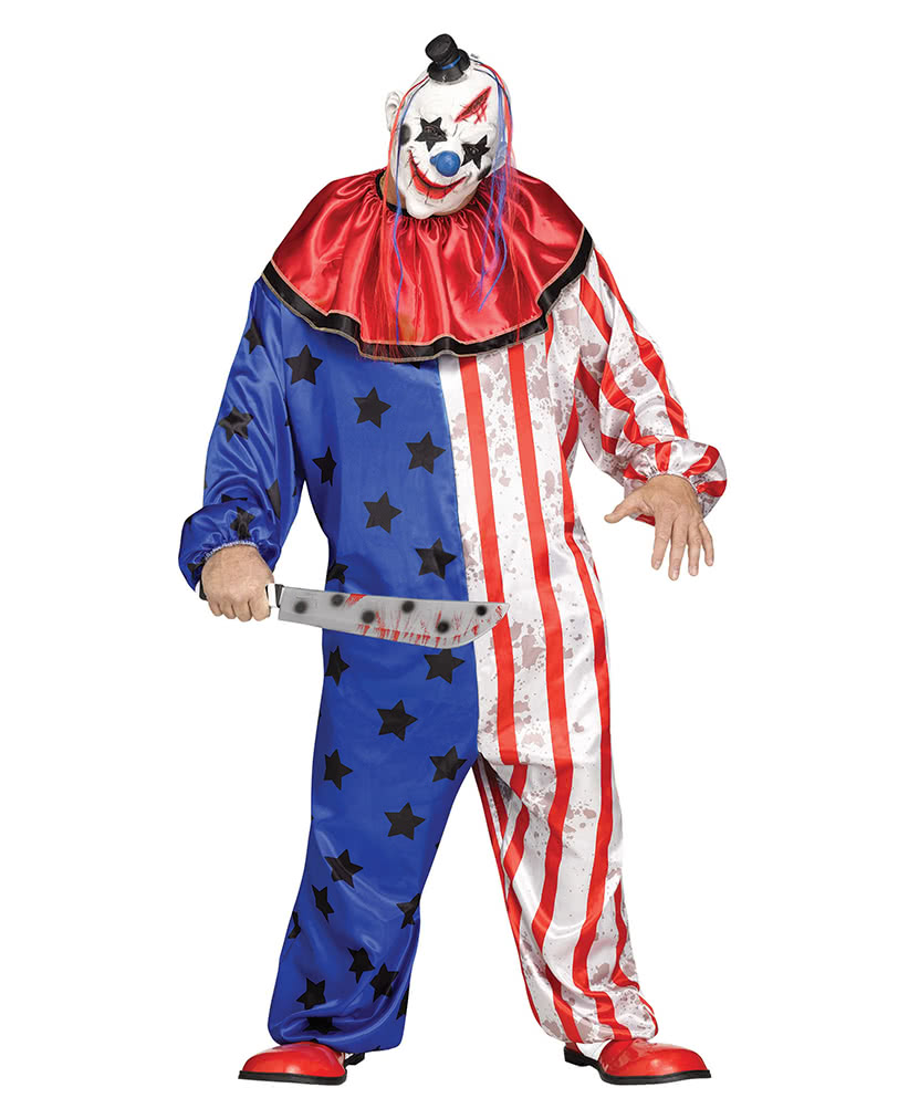 amerika clown kost m mit maske plus size halloween xl. Black Bedroom Furniture Sets. Home Design Ideas