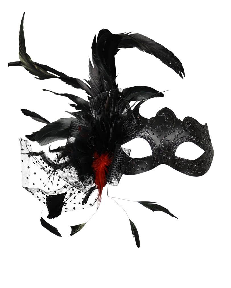 venezianische maske mit federn schwarz f r den maskenball an fasching karneval universe. Black Bedroom Furniture Sets. Home Design Ideas