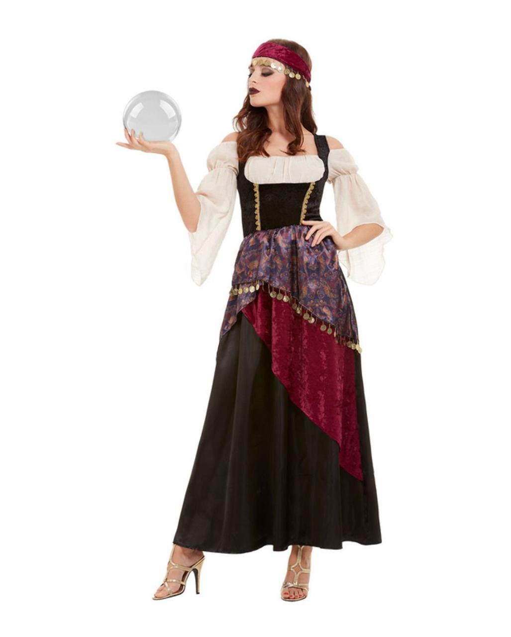 Damen Kostüm Wahrsagerin Zigeunerin Magd Piratin Hellseherin Rock Gr 4-tlg M//L