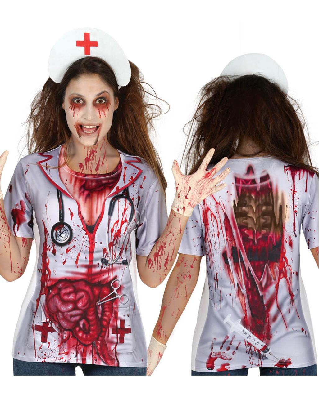 Zombie Krankenschwester T Shirt Halloween Verkleidung Karneval