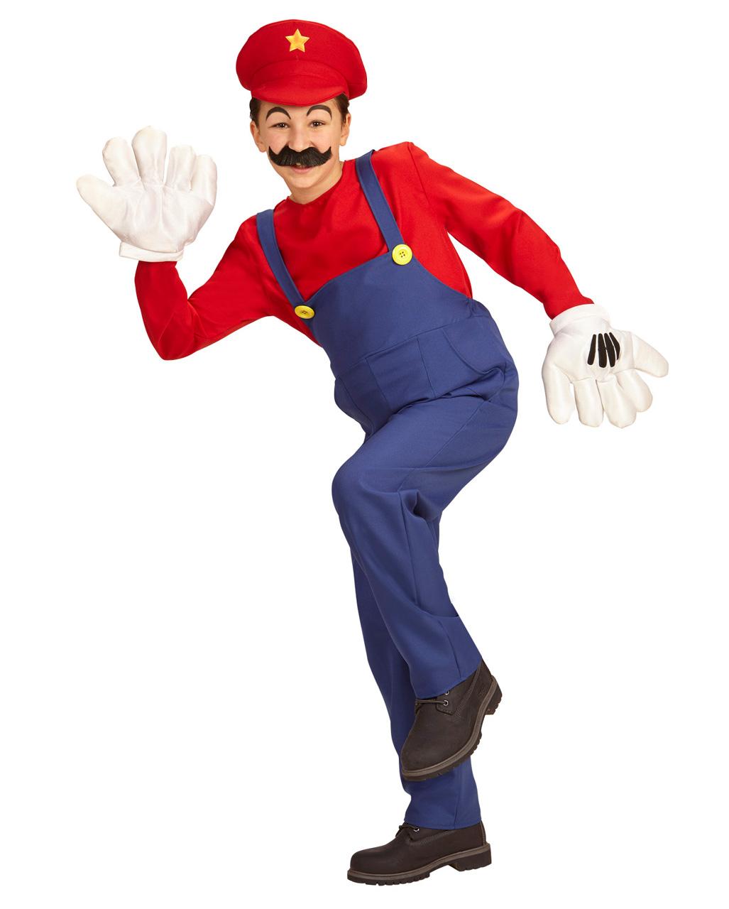 Faschingskostüm Erwachsene Mariokostüm rot-blau Klempner Super Mario Handwerker