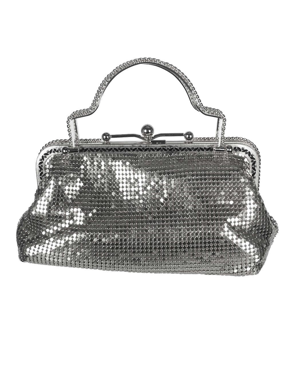silberne vintage handtasche mit strass karneval universe. Black Bedroom Furniture Sets. Home Design Ideas